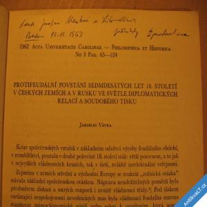 foto PROTIFEUDÁLNÍ POVSTÁNÍ 70. LET 18. ST. V ČESKÝCH ZEMÍCH A RUSKU Vávra