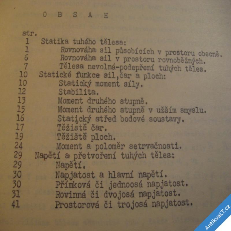 foto Lederer F. PRUŽNOST A STATIKA cca 1955 skripta