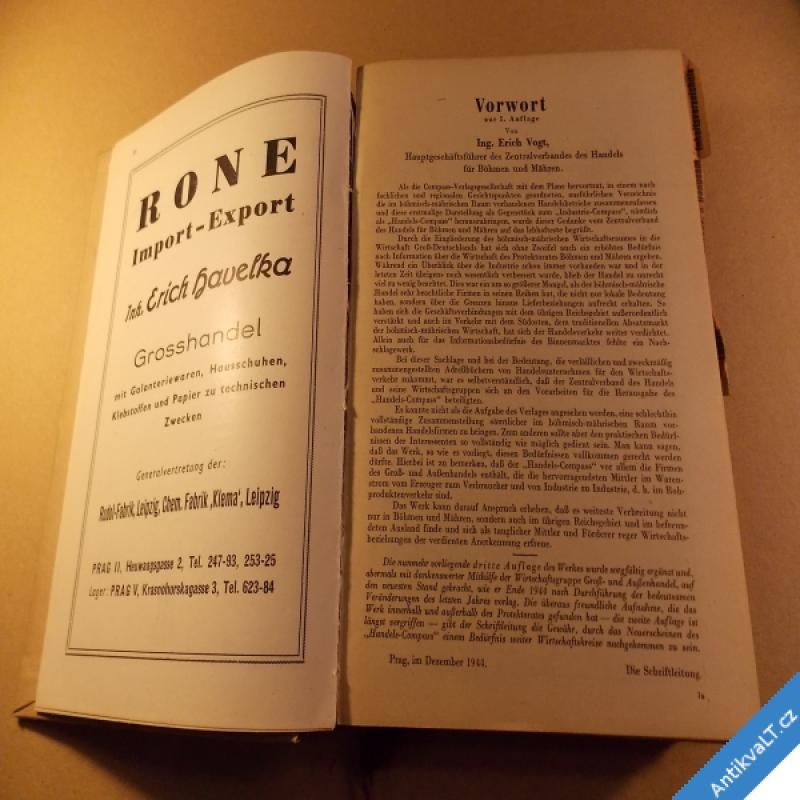 foto Handels - Obchodní COMPASS Böhmen und Mähren 3. posl. vyd. 1944